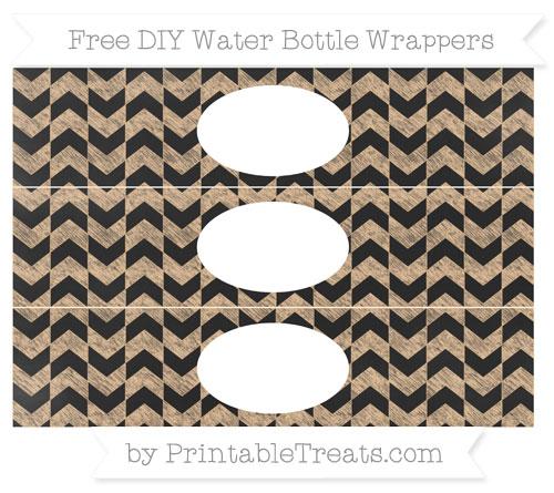 Free Pastel Light Orange Herringbone Pattern Chalk Style DIY Water Bottle Wrappers