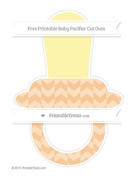 Free Pastel Light Orange Herringbone Pattern Extra Large Baby Pacifier Cut Outs