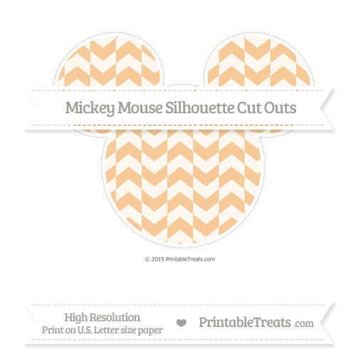 Free Pastel Light Orange Herringbone Pattern Extra Large Mickey Mouse Silhouette Cut Outs