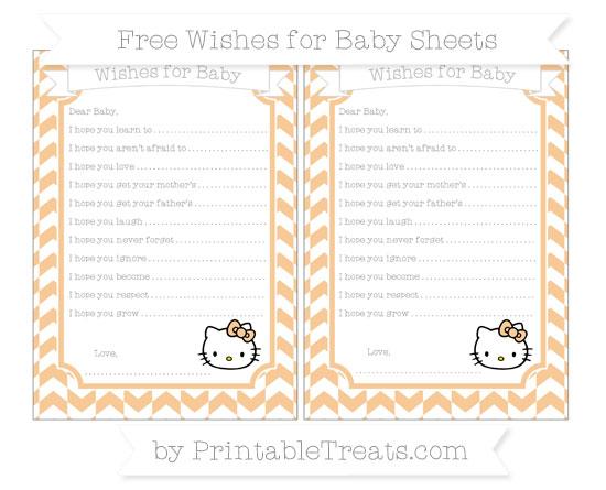 Free Pastel Light Orange Herringbone Pattern Hello Kitty Wishes for Baby Sheets