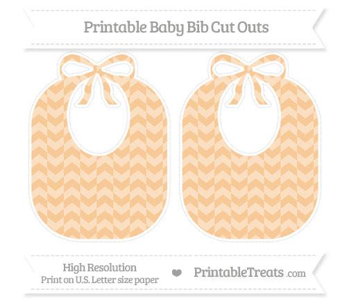 Free Pastel Light Orange Herringbone Pattern Large Baby Bib Cut Outs