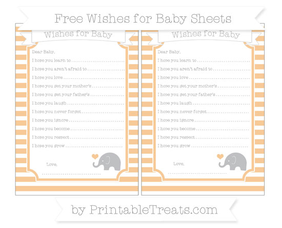 Free Pastel Light Orange Horizontal Striped Baby Elephant Wishes for Baby Sheets