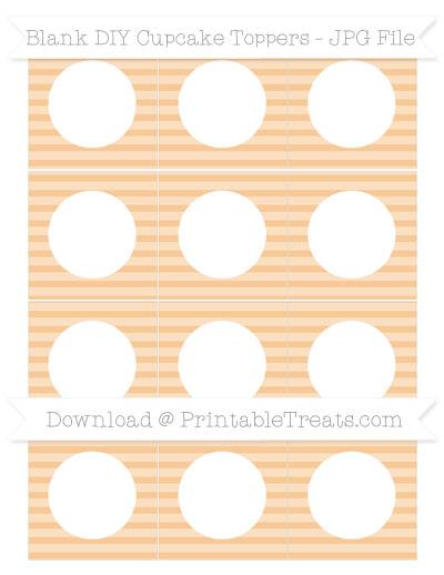 Free Pastel Light Orange Horizontal Striped Blank DIY Cupcake Toppers
