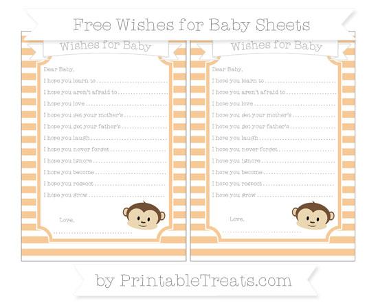 Free Pastel Light Orange Horizontal Striped Boy Monkey Wishes for Baby Sheets