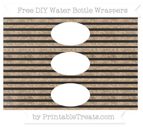 Free Pastel Light Orange Horizontal Striped Chalk Style DIY Water Bottle Wrappers