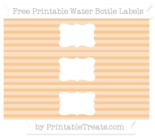 Free Pastel Light Orange Horizontal Striped Water Bottle Labels