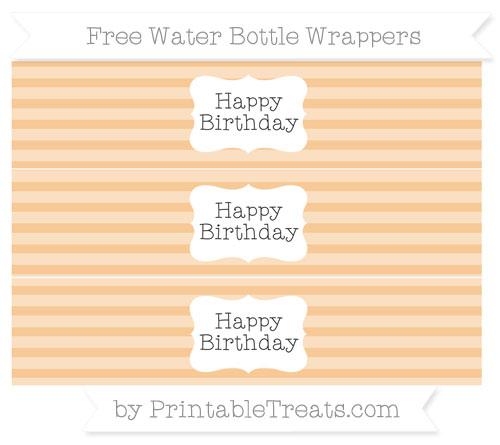 Free Pastel Light Orange Horizontal Striped Happy Birhtday Water Bottle Wrappers