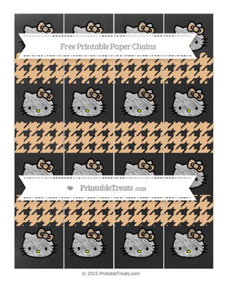 Free Pastel Light Orange Houndstooth Pattern Chalk Style Hello Kitty Paper Chains