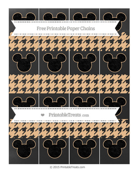 Free Pastel Light Orange Houndstooth Pattern Chalk Style Mickey Mouse Paper Chains