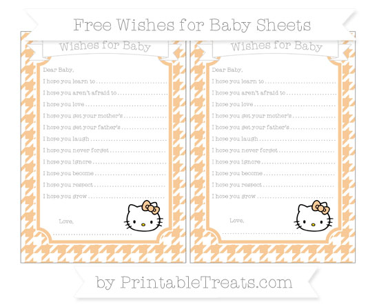 Free Pastel Light Orange Houndstooth Pattern Hello Kitty Wishes for Baby Sheets