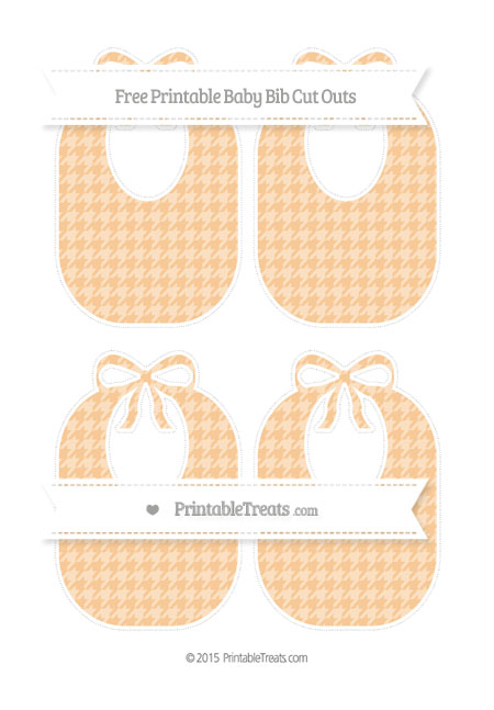 Free Pastel Light Orange Houndstooth Pattern Medium Baby Bib Cut Outs