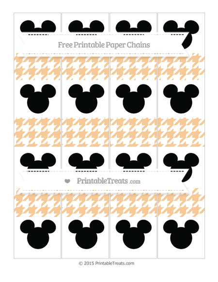 Free Pastel Light Orange Houndstooth Pattern Mickey Mouse Paper Chains