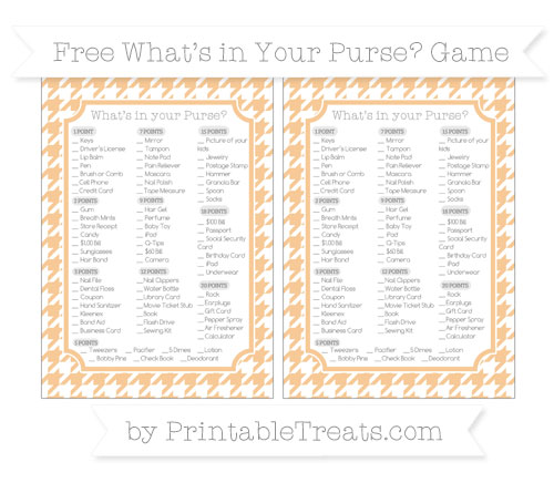 Free Pastel Light Orange Houndstooth Pattern What's in Your Purse Baby Shower Game