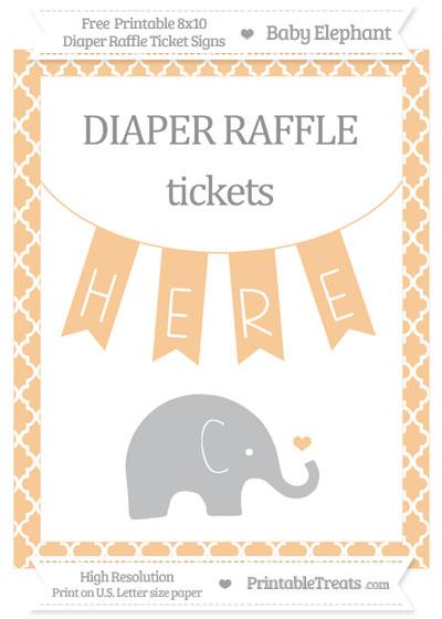 Free Pastel Light Orange Moroccan Tile Baby Elephant 8x10 Diaper Raffle Ticket Sign