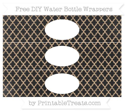 Free Pastel Light Orange Moroccan Tile Chalk Style DIY Water Bottle Wrappers