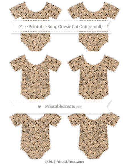 Free Pastel Light Orange Moroccan Tile Chalk Style Small Baby Onesie Cut Outs
