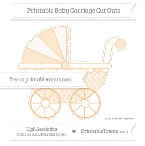 Free Pastel Light Orange Moroccan Tile Extra Large Baby Carriage Cut Outs