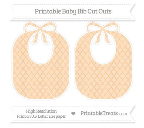 Free Pastel Light Orange Moroccan Tile Large Baby Bib Cut Outs