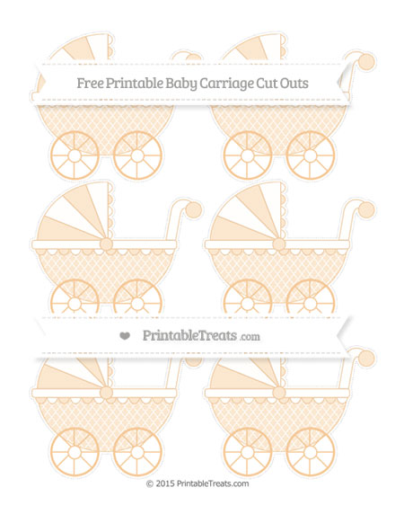 Free Pastel Light Orange Moroccan Tile Small Baby Carriage Cut Outs