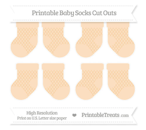 Free Pastel Light Orange Moroccan Tile Small Baby Socks Cut Outs