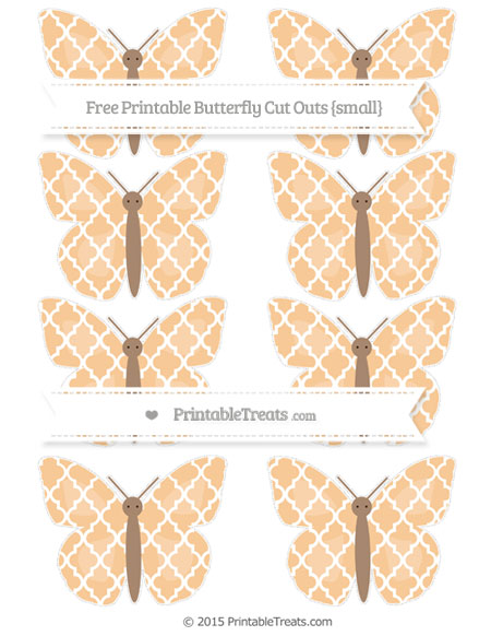 Free Pastel Light Orange Moroccan Tile Small Butterfly Cut Outs