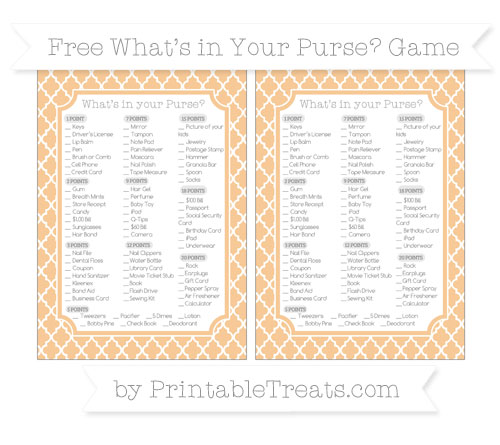 Free Pastel Light Orange Moroccan Tile What's in Your Purse Baby Shower Game