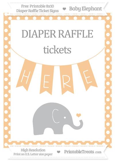 Free Pastel Light Orange Polka Dot Baby Elephant 8x10 Diaper Raffle Ticket Sign