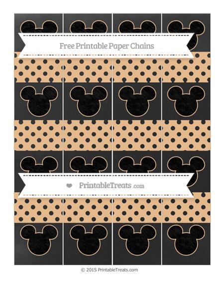 Free Pastel Light Orange Polka Dot Chalk Style Mickey Mouse Paper Chains