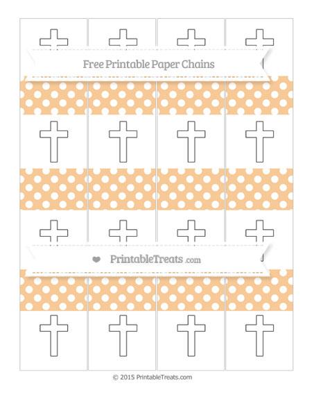 Free Pastel Light Orange Polka Dot Cross Paper Chains