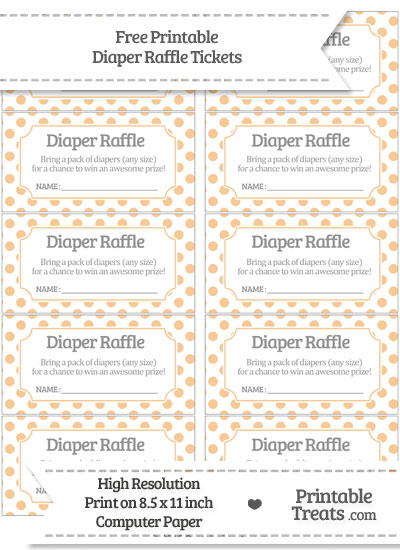 Free Pastel Light Orange Polka Dot Diaper Raffle Tickets