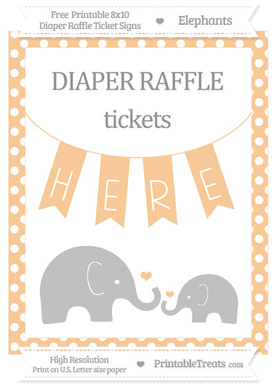 Free Pastel Light Orange Polka Dot Elephant 8x10 Diaper Raffle Ticket Sign