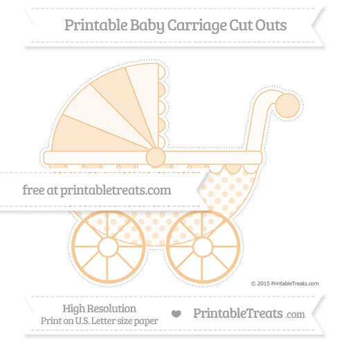 Free Pastel Light Orange Polka Dot Extra Large Baby Carriage Cut Outs