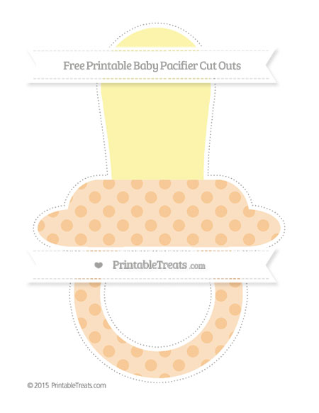 Free Pastel Light Orange Polka Dot Extra Large Baby Pacifier Cut Outs