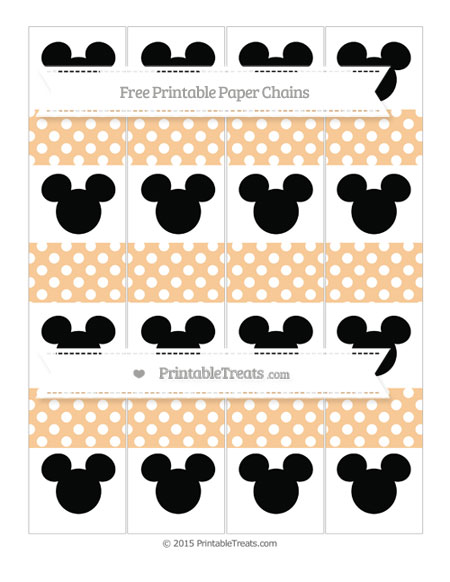 Free Pastel Light Orange Polka Dot Mickey Mouse Paper Chains