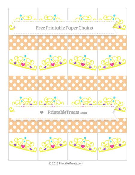 Free Pastel Light Orange Polka Dot Princess Tiara Paper Chains