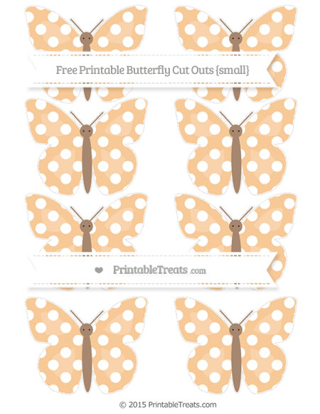 Free Pastel Light Orange Polka Dot Small Butterfly Cut Outs