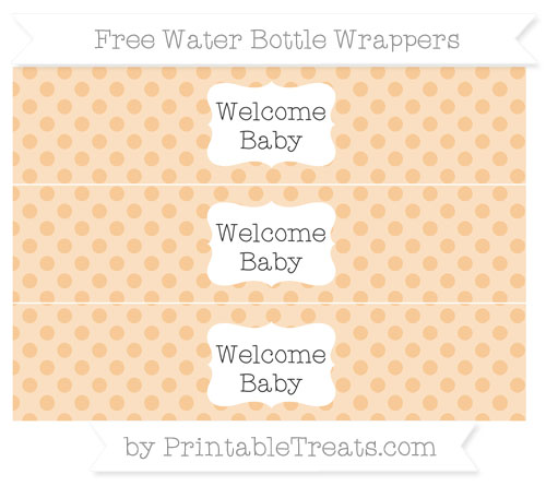 Free Pastel Light Orange Polka Dot Welcome Baby Water Bottle Wrappers