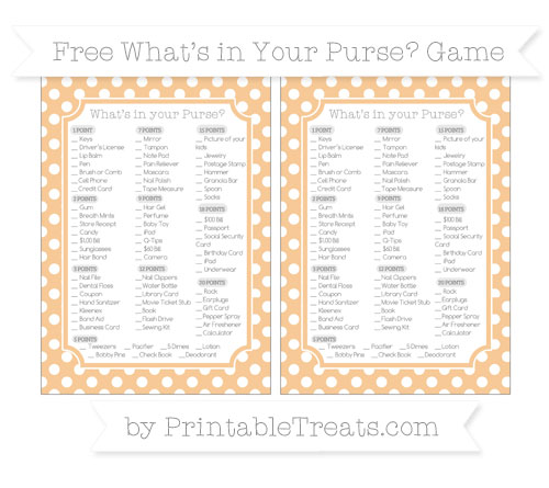 Free Pastel Light Orange Polka Dot What's in Your Purse Baby Shower Game