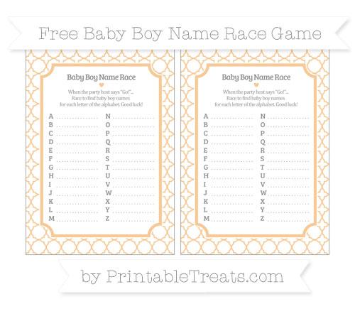Free Pastel Light Orange Quatrefoil Pattern Baby Boy Name Race Game