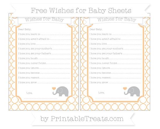 Free Pastel Light Orange Quatrefoil Pattern Baby Elephant Wishes for Baby Sheets