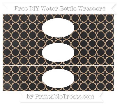 Free Pastel Light Orange Quatrefoil Pattern Chalk Style DIY Water Bottle Wrappers