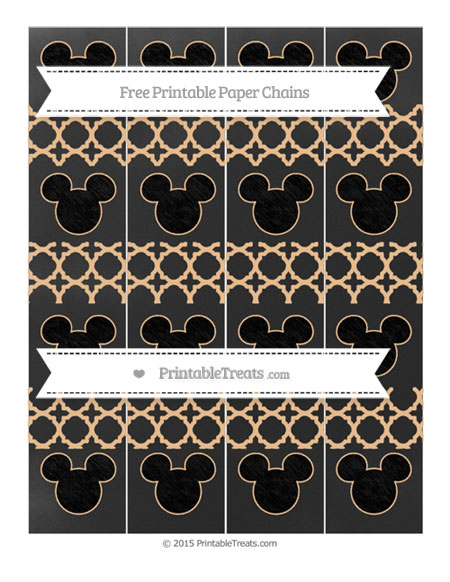 Free Pastel Light Orange Quatrefoil Pattern Chalk Style Mickey Mouse Paper Chains