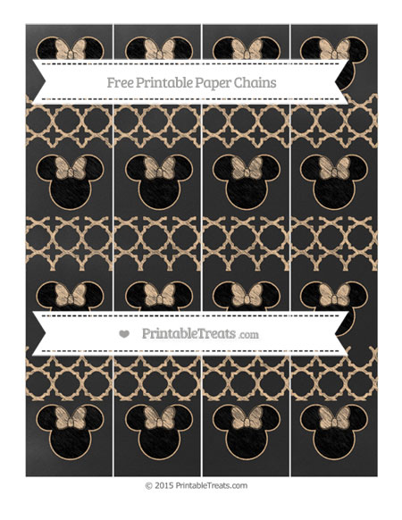 Free Pastel Light Orange Quatrefoil Pattern Chalk Style Minnie Mouse Paper Chains