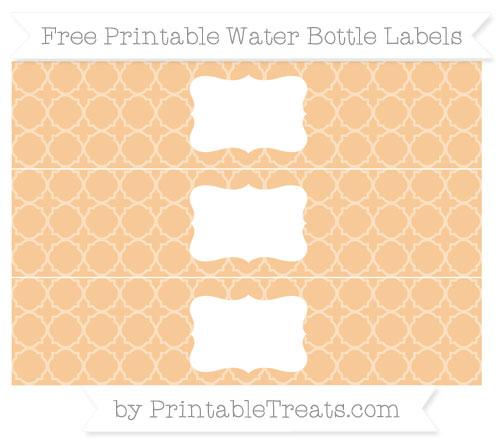 Free Pastel Light Orange Quatrefoil Pattern Water Bottle Labels