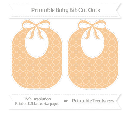 Free Pastel Light Orange Quatrefoil Pattern Large Baby Bib Cut Outs