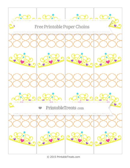 Free Pastel Light Orange Quatrefoil Pattern Princess Tiara Paper Chains