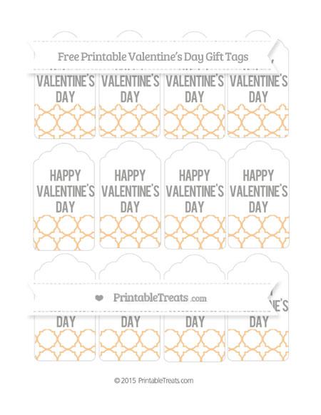 Free Pastel Light Orange Quatrefoil Pattern Valentine's Day Gift Tags