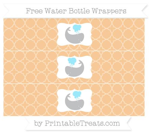 Free Pastel Light Orange Quatrefoil Pattern Whale Water Bottle Wrappers