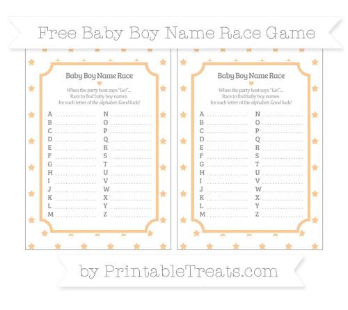 Free Pastel Light Orange Star Pattern Baby Boy Name Race Game