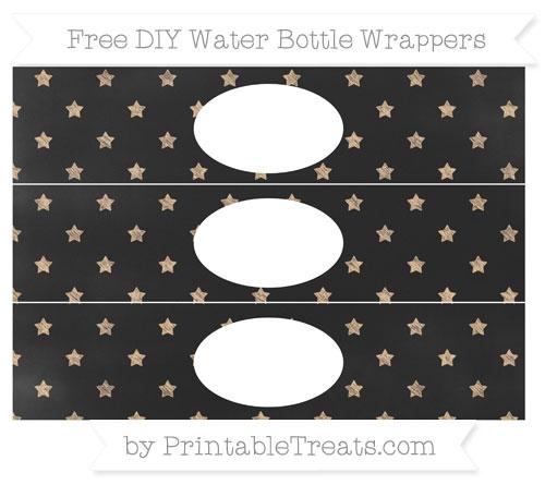 Free Pastel Light Orange Star Pattern Chalk Style DIY Water Bottle Wrappers
